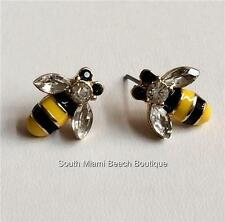 Gold Bumble Bee Earrings Post Pierced Crystal Enamel Yellow Black Bug USA Seller