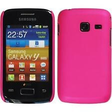 Hardcase Samsung Galaxy Y Duos rubberized hot pink Cover + protective foils