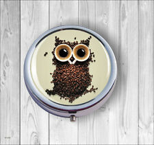 OWL FOR COFFEE AMATEUR PILL BOX -v4p46