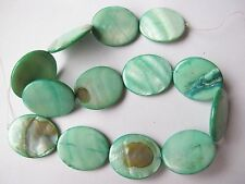 MOP Mother of pearl shell green flat 30mm x 25mm large oval beads 15""