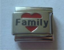 9mm Classic Size Italian Charms L43   Family in Red Love Heart