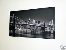 "NEW YORK SKYLINE  CANVAS ART  PICTURE LARGE 18"" X 32""INCH  BLACK & WHITE XL102"