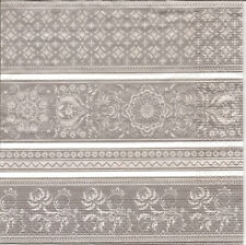 4 Single Paper Table Napkins for Decoupage White Lace Gray Background