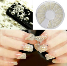 Fashion 3D White Nail Art Tips Pearl Acrylic Gem Glitter Manicure DIY Decoration