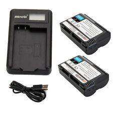EN-EL15 LCD Charger with 2pcs 1950mAh Replacement Li-ion Battery for Nikon D610