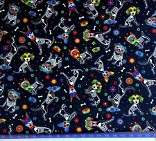 Day of the Dead Dog Fabric - Half Yard- Dia De Los Muertos, Sugar Skull, Flowers