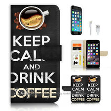 iPhone 7 PLUS (5.5') Flip Wallet Case Cover P3136 Keep Calm Drink Coffee