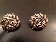 Trifari Crown Signed Vintage Silver Tone Leaf Clip On Earrings 1""