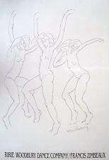 Three Dancers - Francis Zimbeaux -53cm x 76cm, original dance poster, 80's.