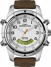TIMEX EXPEDITION Metal Combo T49828 Outdoor Uhr (braunes wasserfestes Lederband)