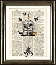 Página de libros antiguos Art Print-mariposa Diccionario Vintage Jaula De Pájaro Pared Arte