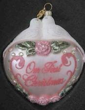 Reed & Barton $65 Blown Glass OUR FIRST CHRISTMAS Heart/Birds Ornament NO DATE