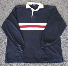 Vintage 90's Nautica Red White Navy Blue Colorblock Rugby Shirt Mens sz S E51
