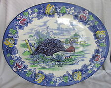 Old Wood&Sons Thanksgiving Turkey Fruit Border Blue Transfer Big Serving Platter