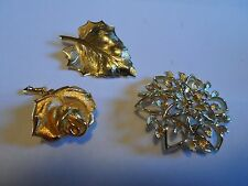SARAH COVENTRY Silver Tone Filigree & Unmarked Gold Tone Rose & Leaf Brooches