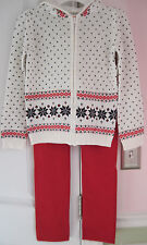 NWT Gymboree Girls Ivory Fair Hoodie Sweater/Sparkle Red Pants Size (M) 7-8