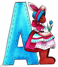 "5"" ALMA LYNN BUNNY ALPHABET ABC'S LETTER A NAME  CUSTOM FABRIC APPLIQUE IRON ON"