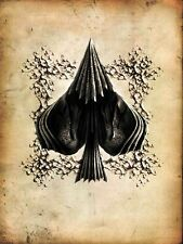 A5 Print – Vintage Playing Card Ace of Spades Gothic Style (Picture Poster Art)
