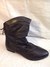 Finish The Look Black Mid Calf Leather Boots Size 7W