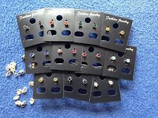 JOB LOT-10 pairs of 0.4cm crown set colour diamonte stud earrings.Silver plated.
