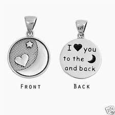 """ I love you to the moon and back"" Pendant Sterling Silver 925 Oxidized Jewelry"