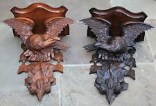 Antique French BLACK FOREST Carved Oak PAIR Eagles Birds Wall Clock Shelf Plaque