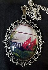 Wizard Oz House Ruby Slippers Large Antique Silver Pendant Necklace Childrens