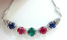 $8000 3.60CT NATURAL RUBY EMERALD SAPPHIRE DIAMONDS NECKLACE F/VS ARCH & BY YARD