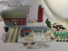 1960's playset marx 54mm tin platform farm silo ramp cows sheep horses crops