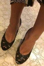 Guess Marciano Black Leather Heels 7.5 Pinup Open Toe NEW Sexy Cut Out Wood