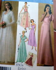 LOVELY RETRO 1930s EVENING DRESS & JACKET Sewing Pattern 8-10-12-14-16 UNCUT