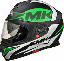 SMK Helmets - Twister - Logo White Green Black- Full Face Dual Visor Bike Helmet
