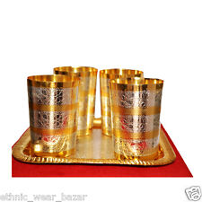 Royal Silver And Gold Plated Brass Glass With Tray Set Of 4 For Kitchen Use