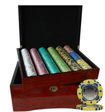 750pcs MONTE CARLO COIN INLAY POKER CHIPS SET HIGH GLOSS WOOD CASE CUSTOM BUILD