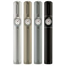 "8.5"" Aluminum Travel Cigar Tube with Hygrometer & Humidifier - Siver"