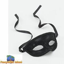 MASQUERADE BLACK EYE MASK WITH RIBBON TIE Ladies Fancy Dress Costume Accessory