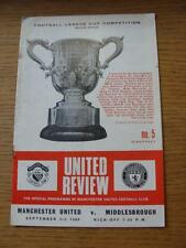 03/09/1969 Manchester United v Middlesbrough [Football League Cup] (Creased, Rus
