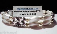 MOTHER OF PEARL DOUBLE STRAND WITH SILVER FLOWERS MAGNETIC CLASP BRACELET