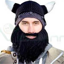Cappello caldo adulto a maglia VIKINGO BARBUTO con corna e  barba NERO maschera