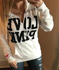 Victoria Secret Love Pink Graphic Dog Patch Logo White Pullover Hoodie Tunic M