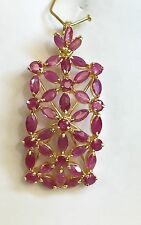 14k Solid Yellow Gold Rectangle Cluster Pendant, Natural Ruby 3.3TCW