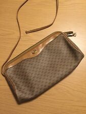 Gucci Monogram and Tan Leather Trim Cross Body Bag