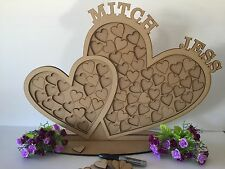 PERSONALISED DOUBLE HEART PUZZLE BOARD-GUEST BOOK- WEDDING-ENGAGED-CHRISTENING