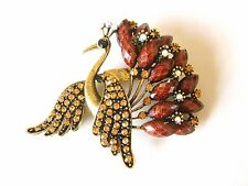 VINTAGE INSPIRED ANTIQUE GOLD BROWN PEACOCK RHINESTONE BROOCH