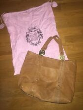 Juicy Couture Tan Large Leather Tote Bag / Purse With Gold Logo Detail