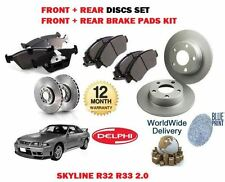 FOR NISSAN SKYLINE R32 R33 2.0 RB20E 1989-  FRONT + REAR BRAKE DISC + PAD KIT