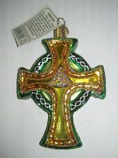 "Old World Christmas Celtic ""Trinity Cross"" Ornament-GLASS"