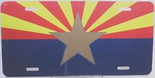 Arizona Flag license plate Gold Star with red and yellow rays with navy blue