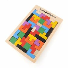 Children Wooden Puzzles Toy Tangram Brain Teaser Tetris Game Kid Jigsaw Board