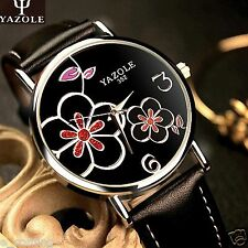 YAZOLE HOT Fashion Woman Ladies Flower Quartz Luxury Dress Leather Wrist Watch